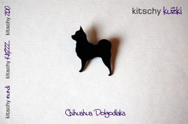 BROSKA Chihuaha dolgodlaka . BROOCH Long Coat Chihuahua
